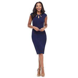 Alyssa Midi Blue Sheath Dress W/ Embellished Top